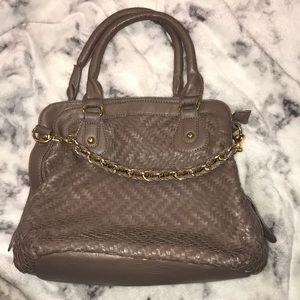 Brown Handbag with Shoulder Strap and Gold Detail